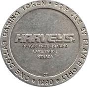 1 Dollar Gaming Token - Harveys Resort Hotel Casino (Lake Tahoe, Nevada) – obverse