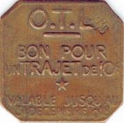 Bon Pour Un Trajet de 10 Centimes OTL Lyon 69 – reverse