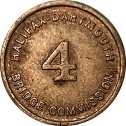 Toll Token - Halifax-Dartmouth Bridge Commission (Class 4 vehicle; 16 mm) – obverse