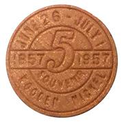 Wooden Nickel - Waterloo Centennial 1857-1957 – reverse