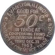 50 Cents - Evanston Centennial (Evanston,  Illinois) – reverse