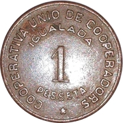 1 Pesseta - Cooperativa Unio de Cooperadors – reverse