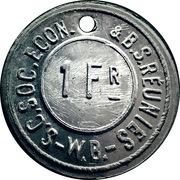 1 Franc - S.C. Soc. Econ. & B.S. Reunies W.B. (Brewery token) – obverse