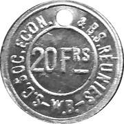 20 Francs - S.C. Soc. Econ. & B.S. Reunies W.B. (Brewery token) – obverse