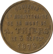 Token - Adolphe Thiers (anniversary of death) – reverse