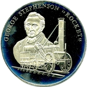"Token - History of Railroads (George Stephenson, ""The Rocket"") – obverse"