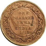 ¼ Anna - Longmans Indian Token Coins – reverse
