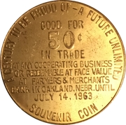 50 Cents - Oakland, Nebraska (Oakland Centennial) – reverse