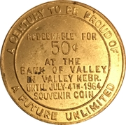 50 Cents - Valley, Nebraska (Valley Centennial) – reverse
