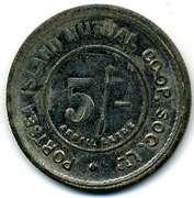 5 Shillings - Portsea Island Mutual CSL (Hampshire) – reverse