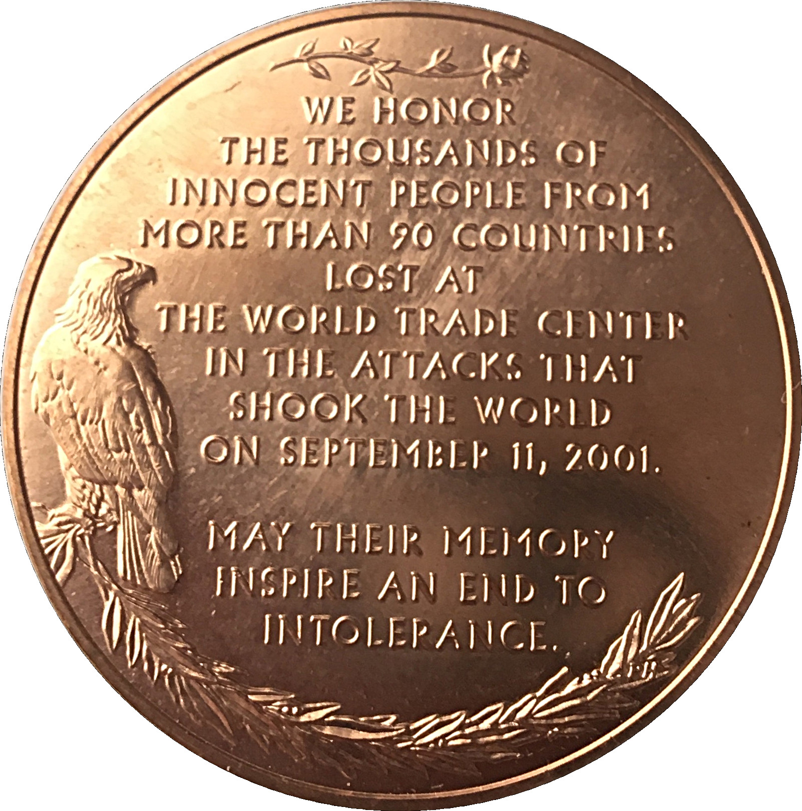In Memory Of Those We Have Lost September 11th Coin American Heroes Token