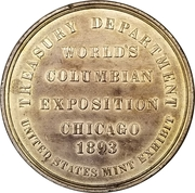 Official Medal - World's Columbian Exposition 1892-1893 – reverse