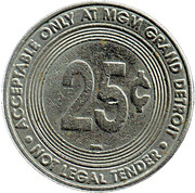 25 Cent Gaming Token - MGM Grand Detroit – reverse