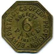 6 Pence - Bury District Co-op Prov SL (Lancashire) – reverse