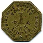 1 Penny - Bury Discrict Co-op Prov SL (Lancashire) – reverse