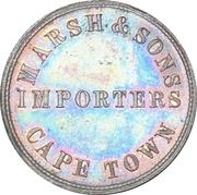 Halfpenny Token - Marsh & Sons tradesmen token coinage – reverse