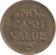 Token - No Cash Value (Eagle looking right; 23 mm; Brass; HH) – reverse