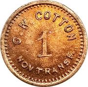 1 Cent - G. W. Cotton – obverse