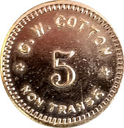 5 Cents - G. W. Cotton – obverse