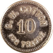 10 Cents - G. W. Cotton – obverse