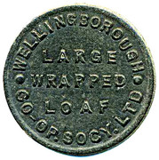 Bread Token - Large Wrapped Loaf, Wellingborough CSL (Northamptonshire) – obverse