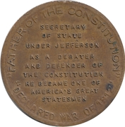 Token - James Madison (Scovill) – reverse
