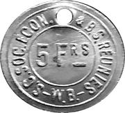5 Francs - S.C. Soc. Econ. & B.S. Reunies W.B. (Brewery token) – obverse
