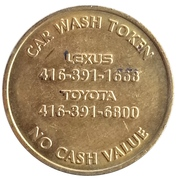 Car Wash Token - On the Park (Lexus Toyota) – reverse