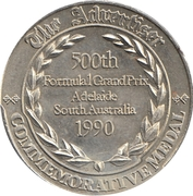 Commemorative Medal - The Advertiser (1st World Championship GP) – reverse
