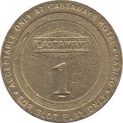 1 Dollar Gaming Token - Castaways (Las Vegas, Nevada) – reverse