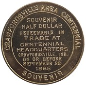 ½ Dollar - Crawfordsville Area Centennial (Crawfordsville, Indiana) – reverse