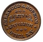 Civil War Merchant Token - Sherwood & Hopson (Utica, New York) – reverse