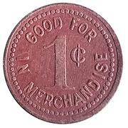 1 Cent - Shawneetown Mercantile Co. (Shawneetown, Missouri) – reverse
