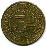3 Pence - Manchester & Salford Equit. CSL (Lancashire) – reverse
