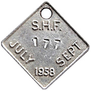 Token - S.H.F. (July-Sept 1958) – obverse