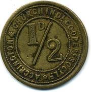 ½ Penny - Accrington & Church C Ind S (Lancashire) – obverse