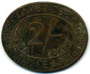 2 Shillings PBA Token - Cambridge CSL (Cambridgeshire) – reverse
