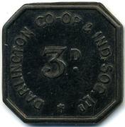 3 Pence - Darlington C & Ind CS (Durham) – obverse