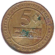 5 Cent Gaming Token - Casino Copa Cabana (Hyatt Regency Aruba) – reverse