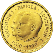 Token - Baudouin I and Fabiola (30 years of marriage; Gold) – obverse
