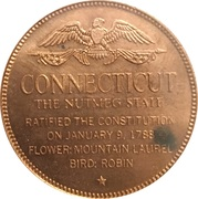Token - Shell's States of the Union Coin Game, Version 1 - Bronze Collector's Coin Set (Connecticut) – reverse