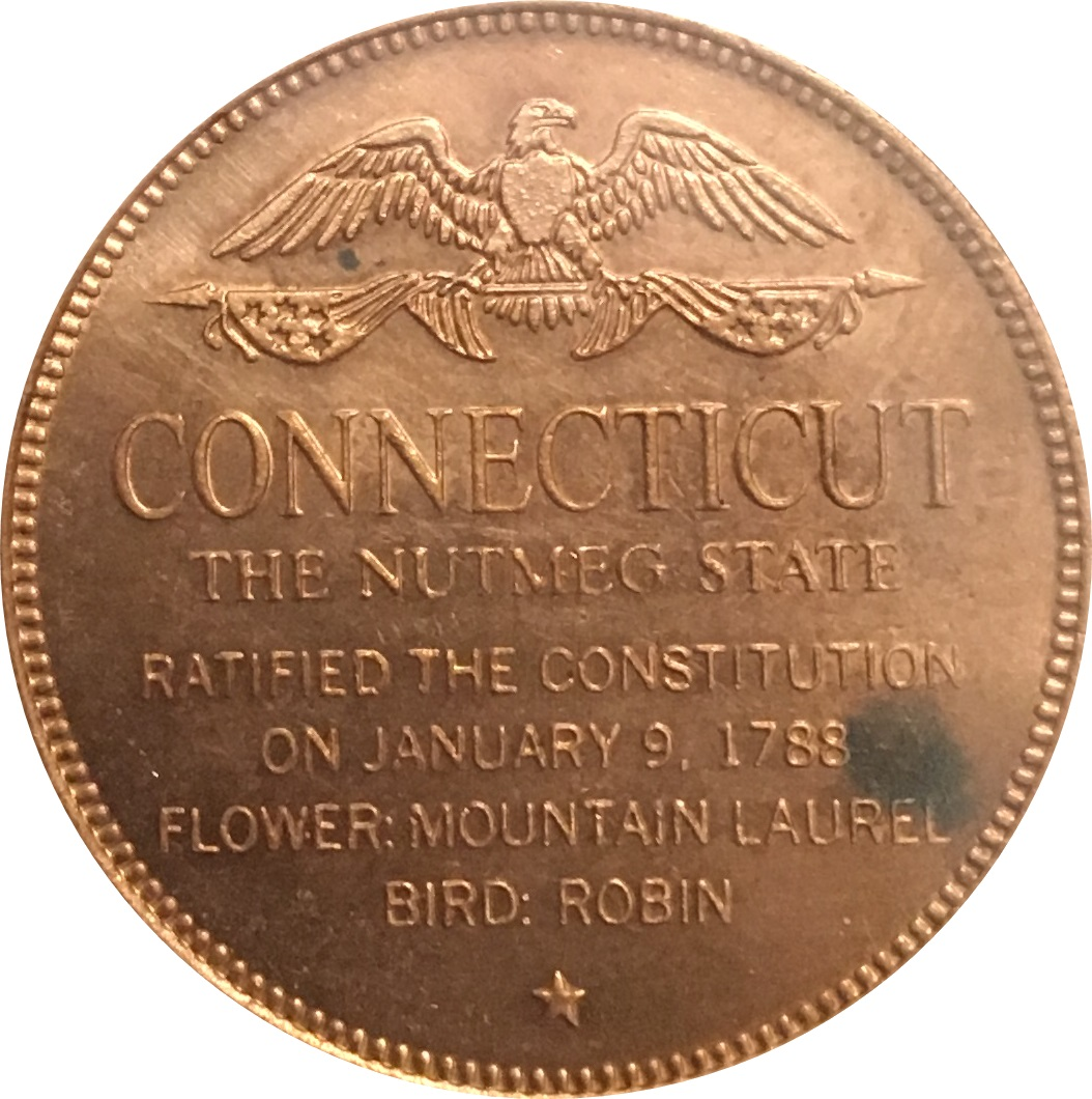 1788 Franklin Mint Solid Bronze Medal United States Constitution Ratified