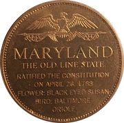 Token - Shell's States of the Union Coin Game, Version 1 - Bronze Collector's Coin Set (Maryland) – reverse
