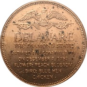 Token - Shell's States of the Union Coin Game, Version 1 - Bronze Collector's Coin Set (Deleware) – reverse