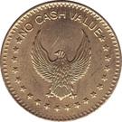"Token - No Cash Value (Eagle looking left; ""No cash value""; Brass; 25 mm; big stars) – obverse"