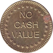 "Token - No Cash Value (Eagle looking left; ""No cash value""; Brass; 25 mm; big stars) – reverse"