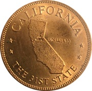 Token - Shell's States of the Union Coin Game, Version 1 - Bronze Collector's Coin Set (California) – obverse