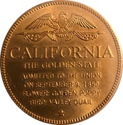 Token - Shell's States of the Union Coin Game, Version 1 - Bronze Collector's Coin Set (California) – reverse