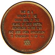 Replica - Great Seal of the Island of Cape Breton – reverse