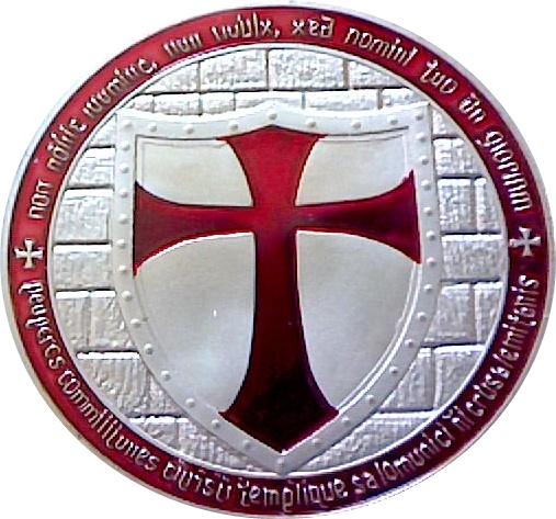 Knights Templar Antique Silverred Geocoin Replica Tokens